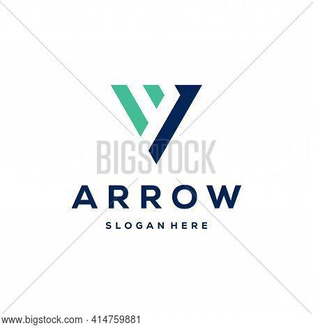 Simple Vi Initial Arrow Logo Designs Template Vector