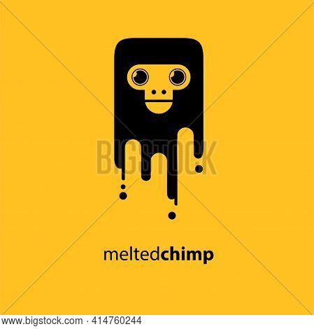 Melted Chimp Vector Illustration Symbol Funny Chimp Melted Like Ice Cream