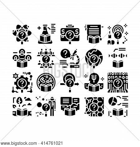 Researcher Business Glyph Set Vector. Chemical Laboratory And Biology Researcher, Sociology And Demo