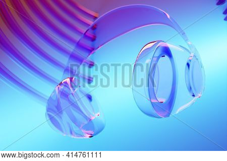 3d Illustration Realistic   Glass Wireless Headphones Isolated On  Blue   Background Under Pink And