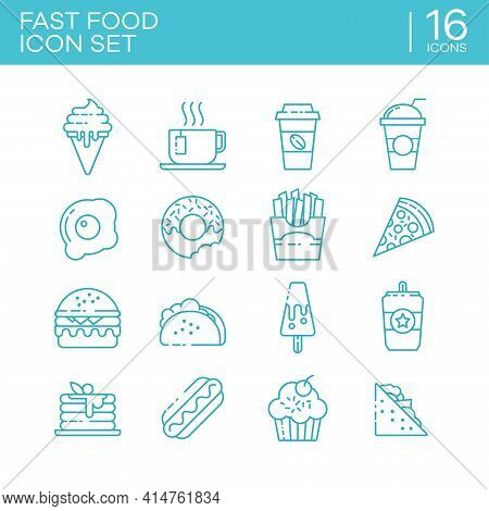 Set Of Outline Icons Of Various Types Of Fast Food. Suitable For Design Element From Cafe Menu, Fast