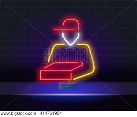 Package Courier Neon Sign. Vector Illustration Of Delivery Promotion Isolated On Brick Wall. Neon Pi