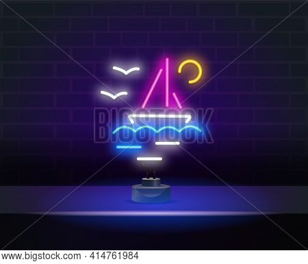 Yacht Club. Sailing Ship On Sea Waves Neon Sign. Vessel, Voyage, Adventure Design. Neon Bright Sign.