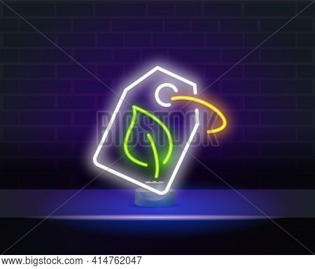 Neon Sign On Dark Wall Eco Friendly Sign A Paper Price Tag. Nature Symbol. Neon Label, Neon With Gre