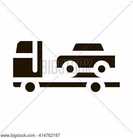 Car Evacuation Glyph Icon Vector. Car Evacuation Sign. Isolated Symbol Illustration