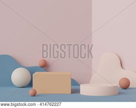 3d Rendering Of Minimal Scene Of White Blank Podium With Earth Tones Color Theme. Display Stand For