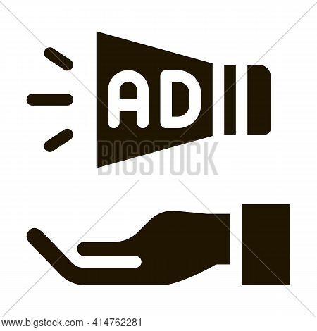 Loudspeaker Hand Glyph Icon Vector. Loudspeaker Hand Sign. Isolated Symbol Illustration