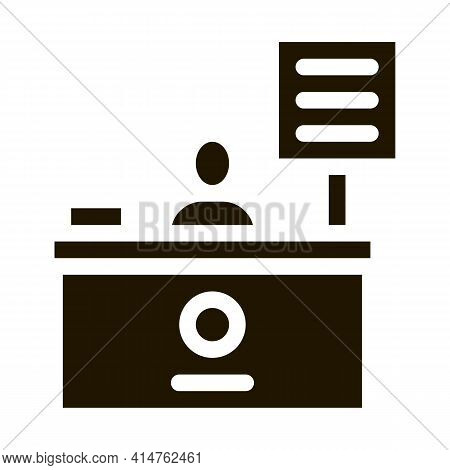 Cashier Table Glyph Icon Vector. Cashier Table Sign. Isolated Symbol Illustration
