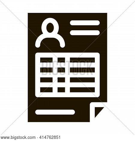 Profile Sheet Glyph Icon Vector. Profile Sheet Sign. Isolated Symbol Illustration