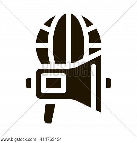 Loudspeaker Globe Glyph Icon Vector. Loudspeaker Globe Sign. Isolated Symbol Illustration