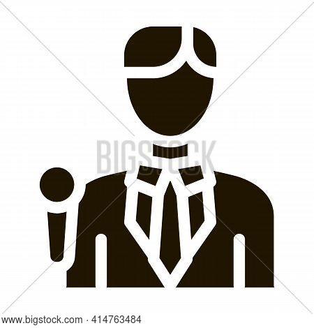 Journalist Man Glyph Icon Vector. Journalist Man Sign. Isolated Symbol Illustration