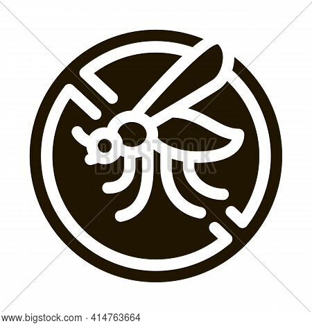 Crossed Mosquito Glyph Icon Vector. Crossed Mosquito Sign. Isolated Symbol Illustration