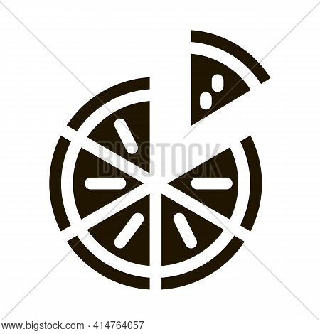 Sliced Pizza Glyph Icon Vector. Sliced Pizza Sign. Isolated Symbol Illustration
