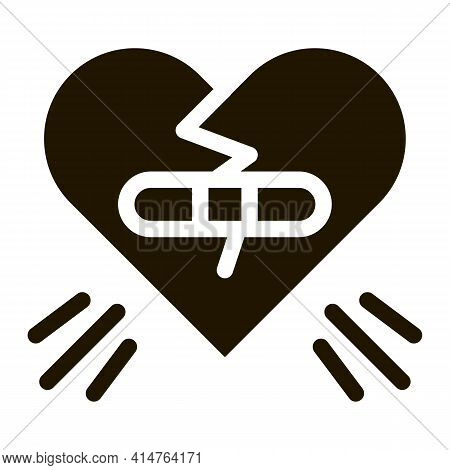 Glued Heart Glyph Icon Vector. Glued Heart Sign. Isolated Symbol Illustration
