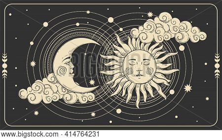 Sun And A Crescent Moon With A Face On A Black Cosmic Background. Tarot Card, Concept Of Mythology,