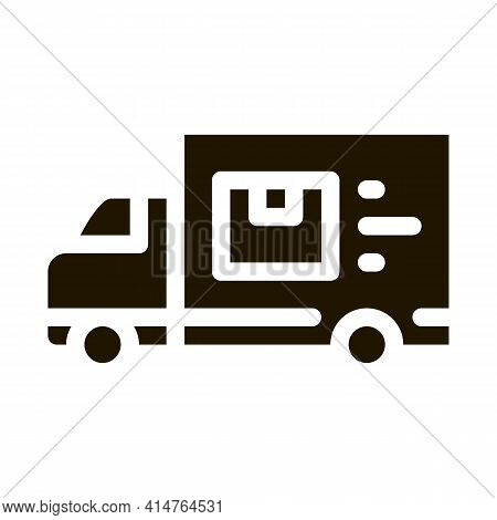 Courier Truck Glyph Icon Vector. Courier Truck Sign. Isolated Symbol Illustration
