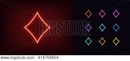 Neon Diamond Suit Icon. Glowing Neon Diamonds Sign, Outline Card Suit Symbol And Silhouette In Vivid