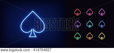 Neon Spade Suit Icon. Glowing Neon Spades Sign, Outline Card Suit Symbol And Silhouette In Vivid Col