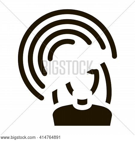 Female Hearing Glyph Icon Vector. Female Hearing Sign. Isolated Symbol Illustration