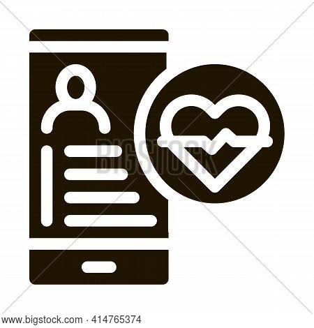 Heart Rhythm Glyph Icon Vector. Heart Rhythm Sign. Isolated Symbol Illustration