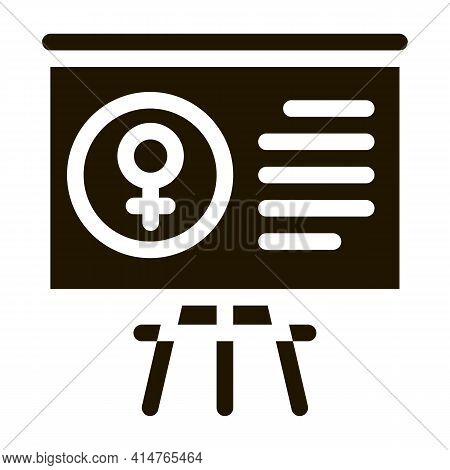 Blackboard Female Glyph Icon Vector. Blackboard Female Sign. Isolated Symbol Illustration