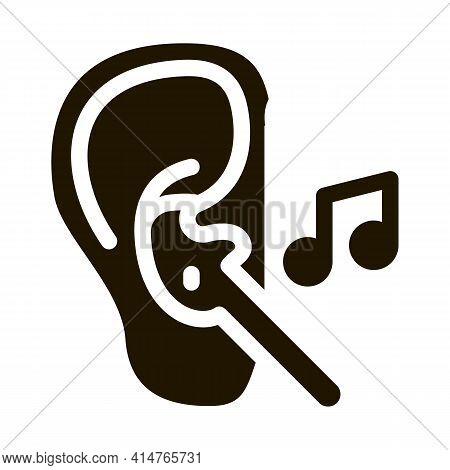 Earphones Music Glyph Icon Vector. Earphones Music Sign. Isolated Symbol Illustration