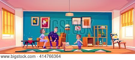 Parents Present Cat To Little Girl. Child Getting Cute Pet For Birthday. Vector Cartoon Illustration