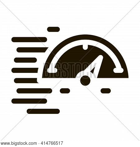 Speedometer Glyph Icon Vector. Speedometer Sign. Isolated Symbol Illustration