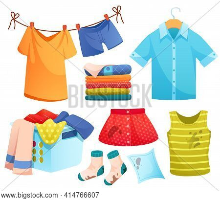 Clean And Dirty Clothes, Laundry, Washed Linen Pile, Stained Dress In Basket, Socks, Skirt And Under