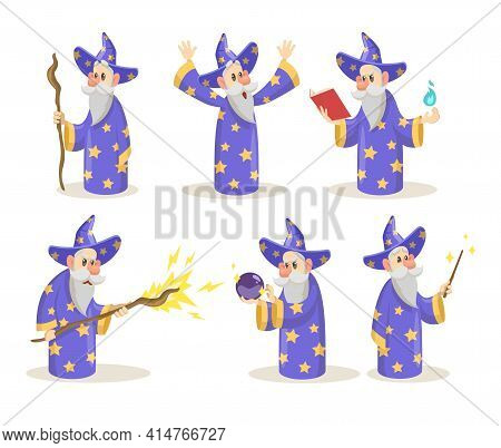 Old And Wise Magician With Wand, Crystal Ball Spelling. Cartoon Characters Of Wizard, Sorcerer, Mage