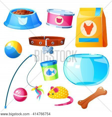 Pet Shop Collection With Toys, Bowl, Feed For Domestic Animals In Bag And Cans. Vector Cartoon Set O
