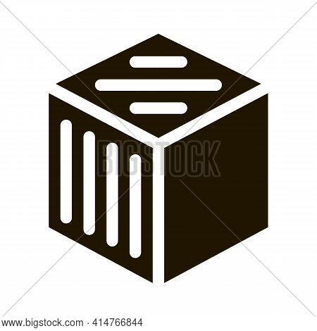 Refined Cube Glyph Icon Vector. Refined Cube Sign. Isolated Symbol Illustration