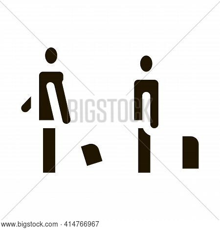 Passengers With Baggage Icon Vector. Passengers With Luggage Standing In Airport Or Railway Station