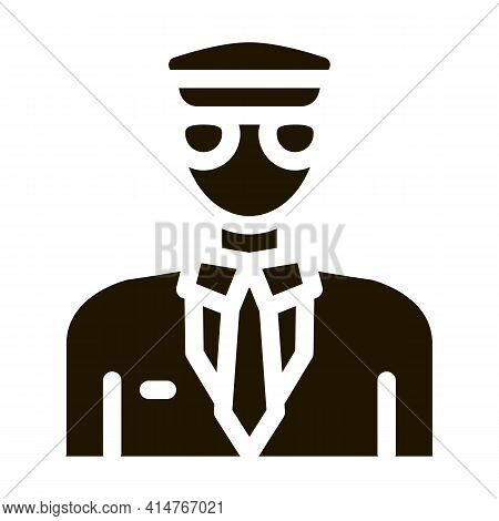 Pilot Aircraft Silhouette Icon Vector. Pilot Human Wearing Professional Suit And Cap Pictogram. Mono