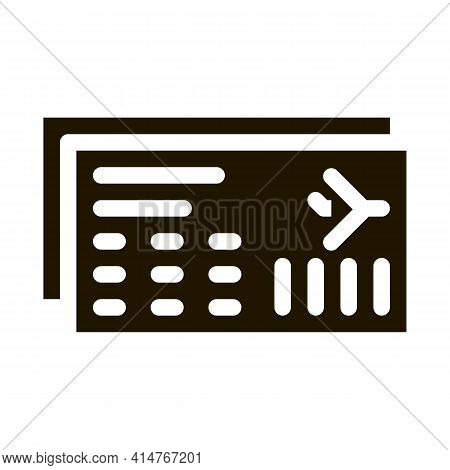 Airline Ticket Boarding Pass Icon Vector. Flight And Seat Number On Ticket Pictogram. Air Transport