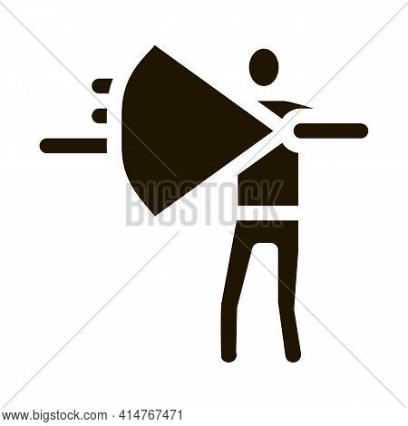 Shooting Archer Silhouette Icon Vector. Archer Standing With Bow And Arrow Ready For Shoot Pictogram
