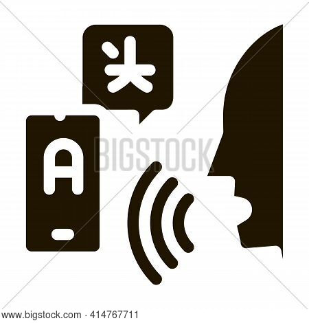 Voice Interpreter Translator Icon Vector. Human Speaking And Smartphone Interpreter Translate Pictog