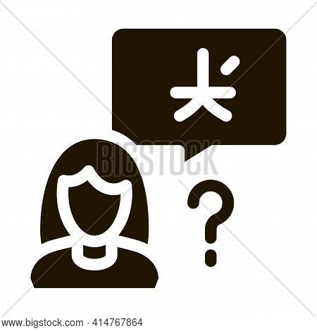 Woman Foreigner Silhouette Icon Vector. Girl Foreigner Speaking Foreign National Language Pictogram.