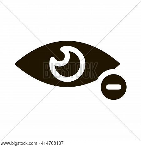 Diopter Myopia Eye Vision Icon Vector. Eye With Minus Mark Pictogram. Eyesight Problem Clinic Aid Bl