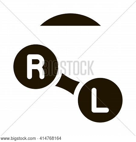 Improved Vision Contact Lens Icon Vector. Optical Tool For Right And Left Eyes Pictogram. Myopia And