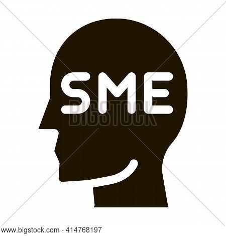 Human Head Sme Business Icon Vector. Sme Small Medium Enterprise Expert Businessman Profile Pictogra