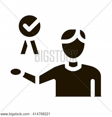 Businessman Holding Medal Icon Vector. Good Working Job Employee Medal With Approved Mark Pictogram.