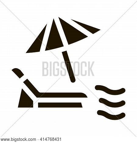 Deck Chair With Umbrella Icon Vector. Thailand Vacation Beach Equipment Recliner With Umbrella Picto