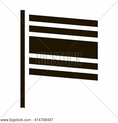 Thailand Flag On Flagstaff Icon Vector. National Country Thailand Flag, Patriotic Thai Symbolic Pict
