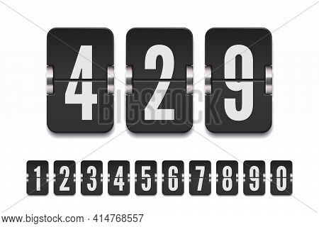 Set Of Black Flip Numbers On A Mechanical Scoreboard With Shadows. Vector Template For Your Design.