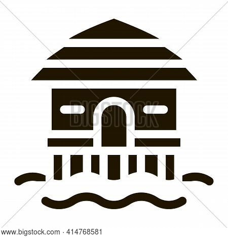 Bungalow House On Water Icon Vector. Bungalow Beach Building, Seaside Wooden Construction Pictogram.