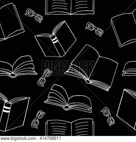 Books And Glasses Seamless Pattern. Hand Drawn Doodle Style. Vector, Minimalism, Monochrome, Sketch.