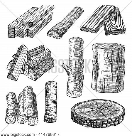 Cut Logs, Firewood And Planks Engraved Vector Illustrations Set. Hand Drawn Sketch Of Wooden Materia