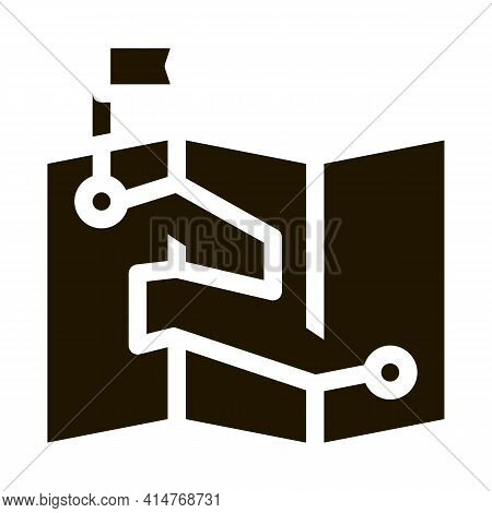 Map Direction Topography Icon Vector. Paper Map With Point And Push Pin In Flag Form Pictogram. Mono