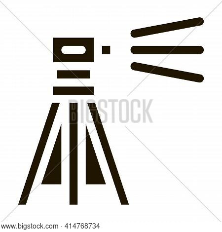 Topography Geodetic Tool Icon Vector. Engineer Topography Tripod Equipment For Measuring Pictogram.